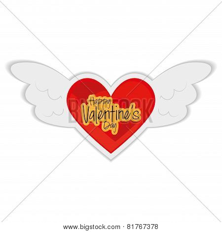 an isolated heart with angel wings and text for valentine's day