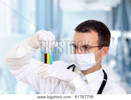 Doctor  Resarch A Medical Test Glass With Urine.