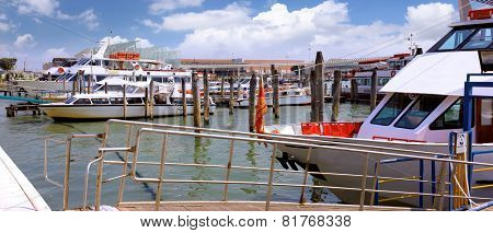 Marine Moorage , Sea Port In Venice.