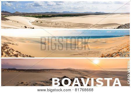 Picture Montage Of Boavista Island Landscapes  In Cape Verde Archipel