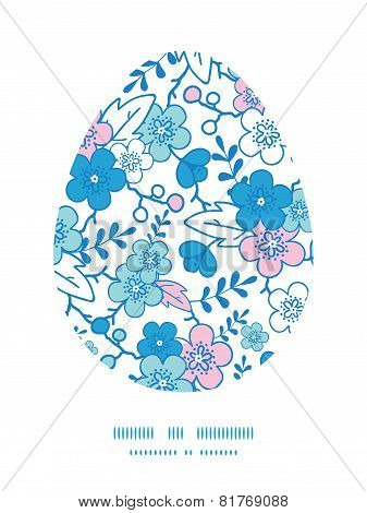 Vector blue and pink kimono blossoms Easter egg sillhouette frame card template