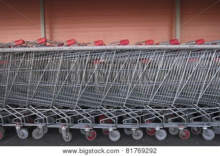 Long Row Of Shopping Trolleys