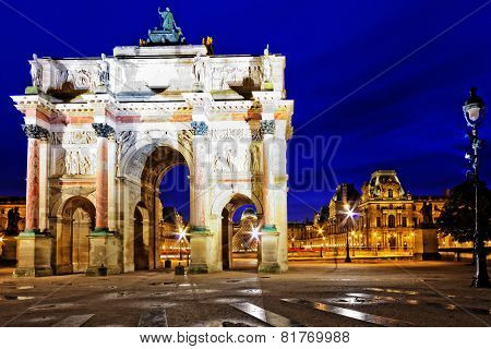 Arc De Triomphe In The Square Karruzel (jardin Des Tuileries) . Paris. France.