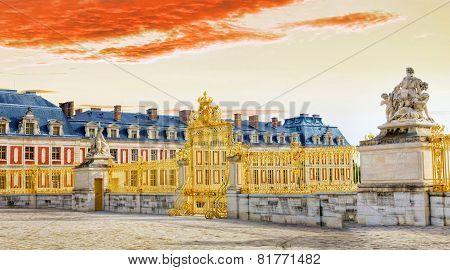 Main Entrance Of Versailles Palace, Versailles, France.