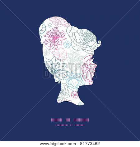 Vector gray and pink lineart florals girl portrait silhouette pattern frame