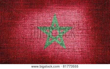 Morocco flag on burlap fabric
