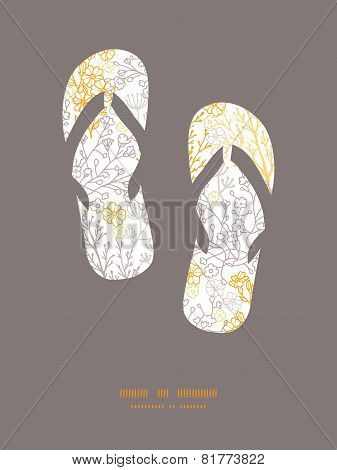 Vector magical floral flip flops silhouettes pattern frame