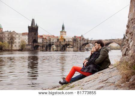 Young couple in love. Prague, Czech Republic, Europe.