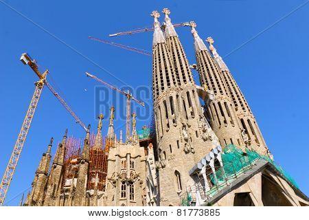 BARCELONA, SPAIN - AUGUST 28, 2008: The Basilica of La Sagrada Familia