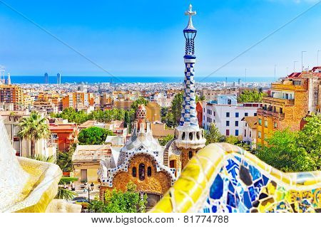 BARCELONA, SPAIN - SEPT 02,2014 :Gorgeous and amazing Park Guel in Barcelona