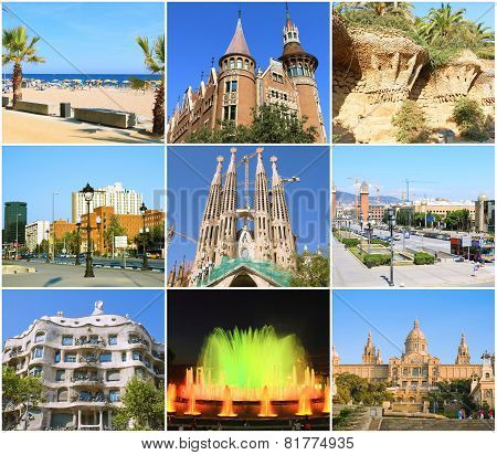 BARCELONA, SPAIN - AUGUST  28, 2008: Beautiful collage of Barcelona,