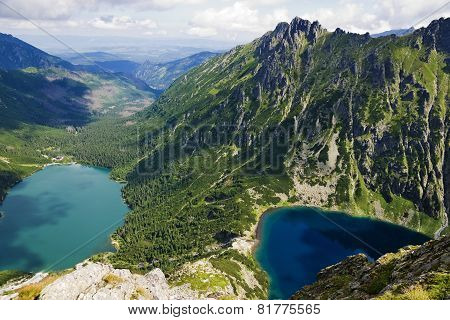 The View From The Top On A Sea Eye And Black Pond. The Polish Tatras