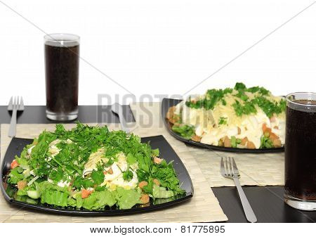 Salad-shrimps, Lettuce And Fizz Drink. Isolated
