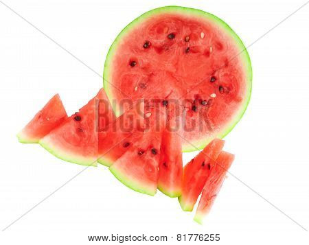 Half Of Watermelon With Juicy Slice, Isolated.