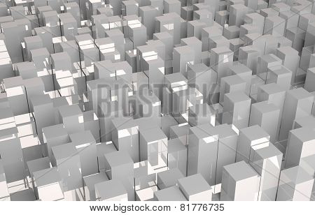 Abstract 3D background of gray cubes