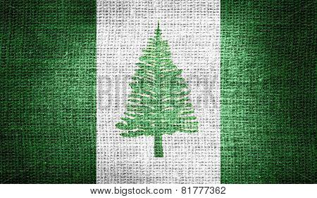 Norfolk Island flag on burlap fabric