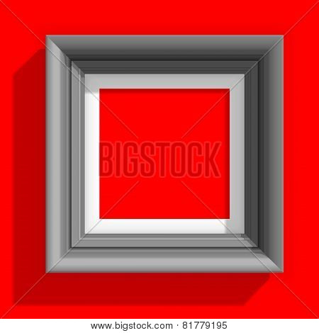 Empty Picture Frames Isolated on the Red Background. Vector Illustration