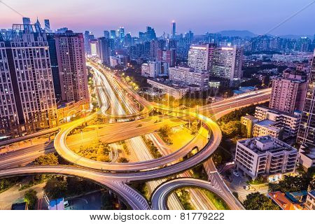 Huangpu Interchange In Nightfall