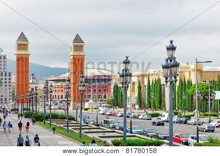 BARCELONA, SPAIN - SEPT 04: Famous   Placa De Espanya in Barcelona.