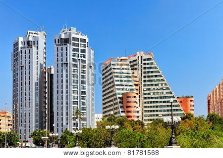 VALENCIA, SPAIN - SEPT 10: Cityscape of Valencia. September 10, 2014 in Valencia, Spain