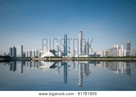 City Skyline And Reflection In Guangzhou