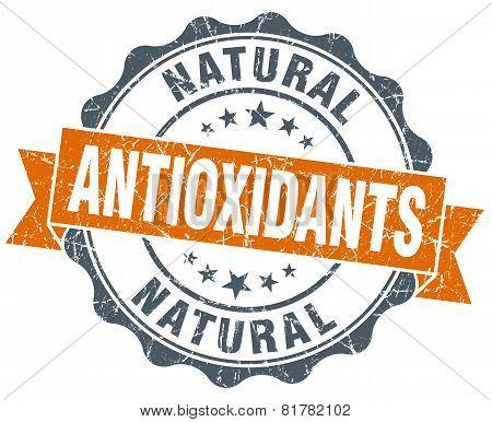 Antioxidants Orange Vintage Seal Isolated On White