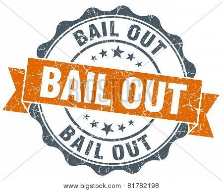 Bail Out Orange Vintage Seal Isolated On White