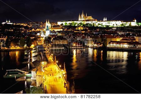 Night Prague,old Prague Castle.