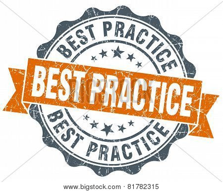 Best Practice Orange Vintage Seal Isolated On White