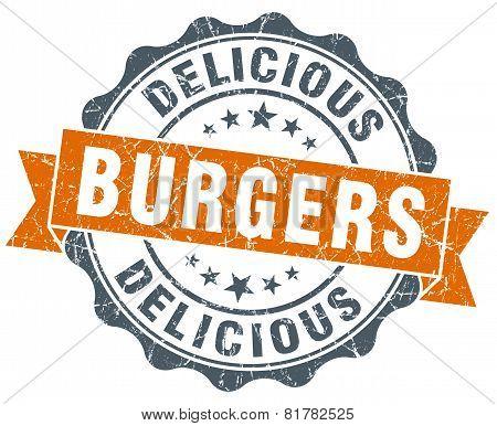 Burgers Orange Vintage Seal Isolated On White