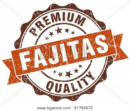 Fajitas Brown Vintage Seal Isolated On White