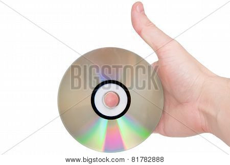 Single Dvd(cd) Disc Hold In Hand.