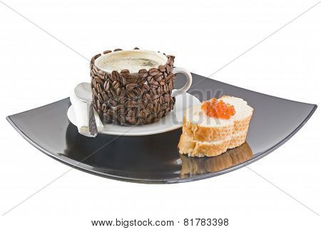 Cup Of Coffee With Cream, Red Caviar. Isolated