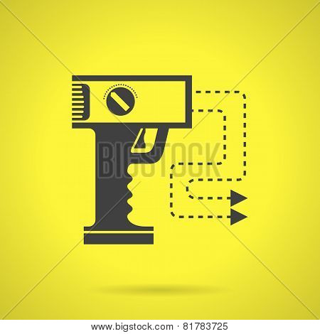 Black stun gun flat vector icon