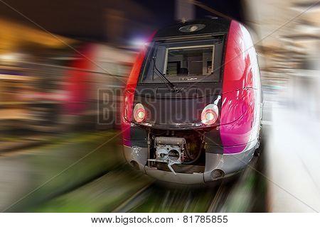 Modern Fast Passenger Train. Motion Effect