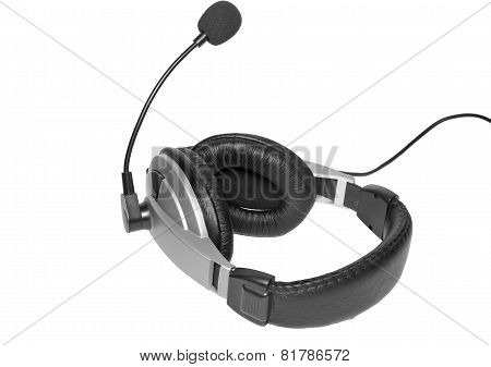 Big Headset With A Microphone. Isolated