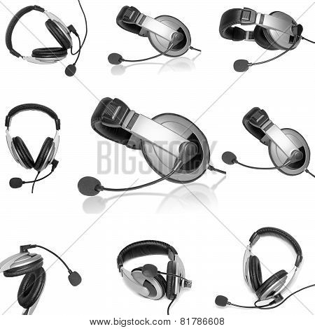 Collage (collections) Headsets With A Microphone