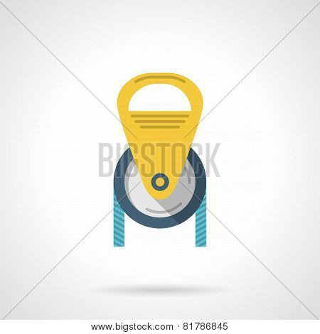 Color pulley flat vector icon