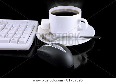Cup Of Coffee, Keyboard, mouse On A Black.