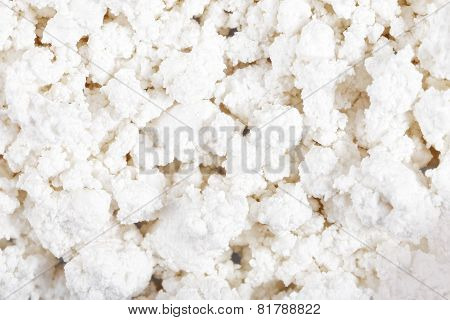 Fresh Cottage Cheese (curd) Heap, Isolated On White Background .