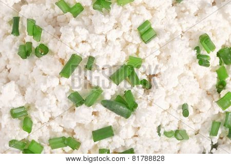 Fresh Cottage Cheese (curd) Heap With Onion, Isolated On White Background .