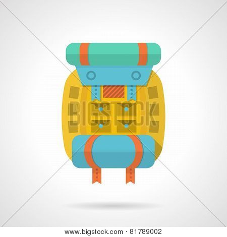Colored backpack flat vector icon