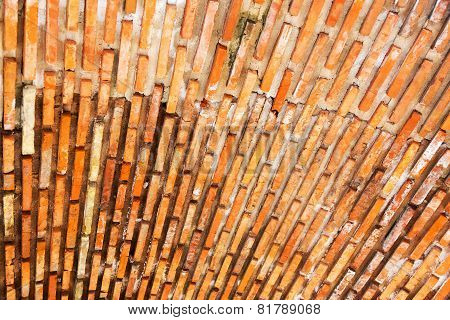 Abstract, Creative Gloomy Textured Ceiling Of An Old Building, Masonry Brick Red