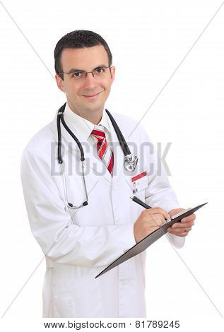 Portrait Of Medical Doctor. Write On Paper Pad.