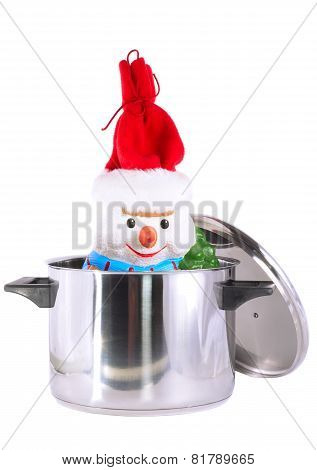 New Year Decoration- Snowman In Saucepan.
