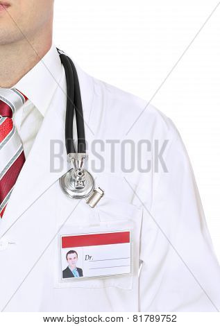 Fragment Medical Doctor's Smock . Isolated