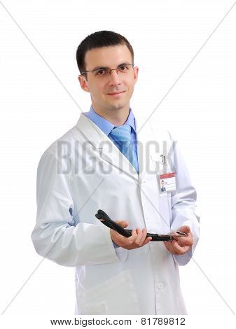 Portrait Of Medical Doctor With Phonendoscope.