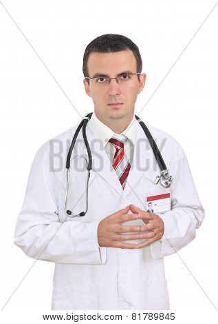 Portrait Of Medical Doctor With Sadness Face.