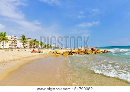 SEGUR DE KALAFEL , SPAIN - SEPT 09: Seafront, beach,coast in Segur De Calafel