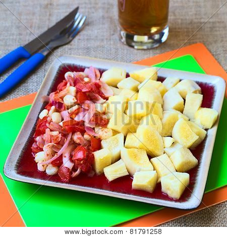 Cassava with Tomato, Corn and Onion